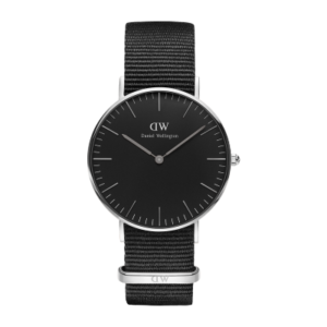 Daniel Wellington Classic Black Cornwall 36mm Silver