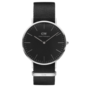 Daniel Wellington Classic Black Cornwall 40mm Silver